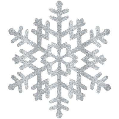 15 in. Silver Glitter Snowflake (4-Pack)