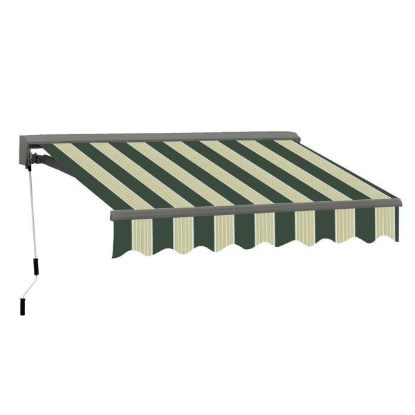 13 ft. Classic C Series Semi-Cassette Electric with Remote Retractable Awning (118in. Projection) in Green/Cream Stripes