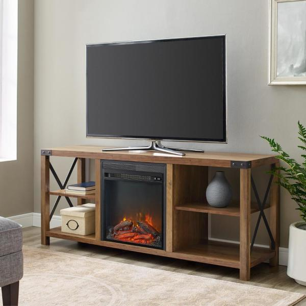 60 in. Reclaimed Barnwood Composite TV Stand Fits TVs Up to 65 in. with Electric Fireplace