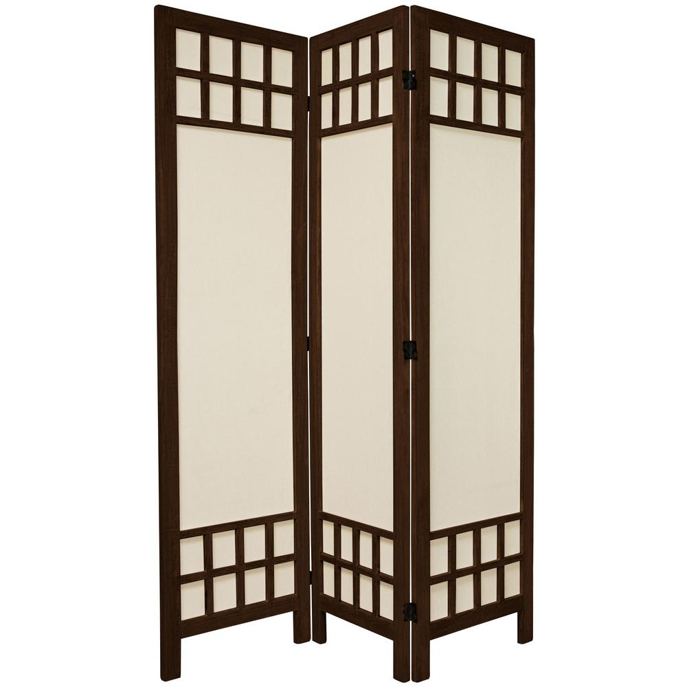 Oriental 6 ft. Burnt Brown Muslin Window Pane 3-Panel Roo...