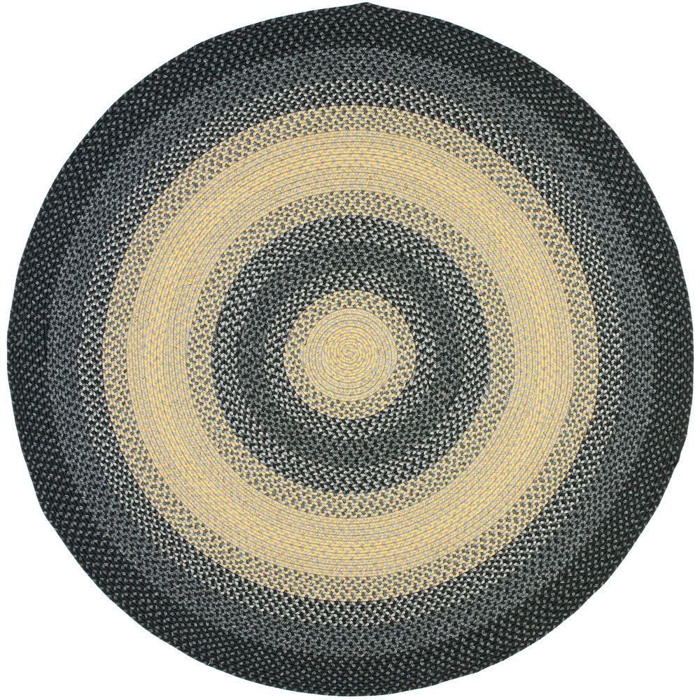 Braided Black/Multi 8 ft. x 8 ft. Round Area Rug