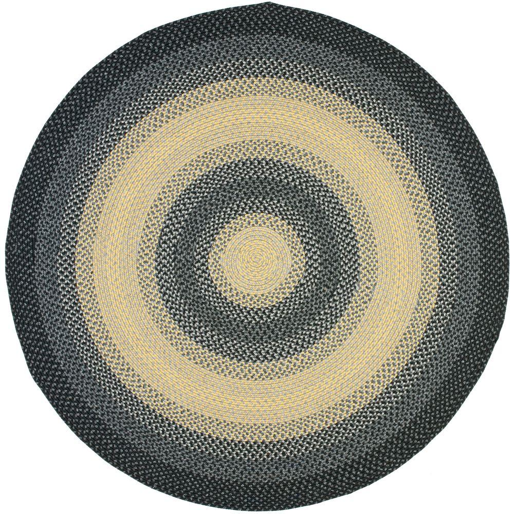 Safavieh Braided Black/Multi 8 ft. x 8 ft. Round Area Rug