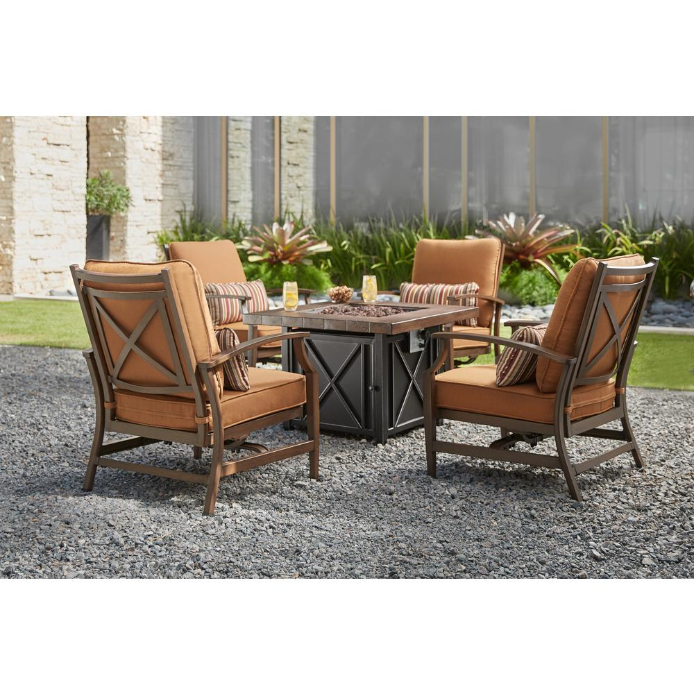 Hampton Bay Marywood 5 Piece Patio Fire Pit Chatting Set With Brown Cushions Ac Dc 699 5 The