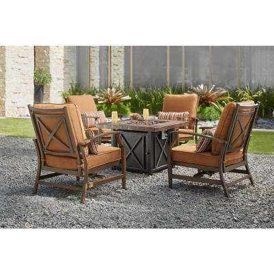 North Lake 5-Piece Patio Fire Pit Conversation Set with Sunbrella Spectrum Sierra Cushions