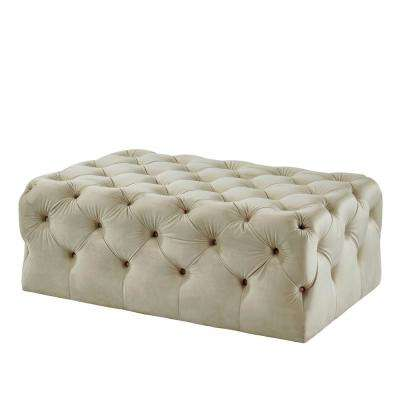 Ashley Beige Button Tufted Ottoman