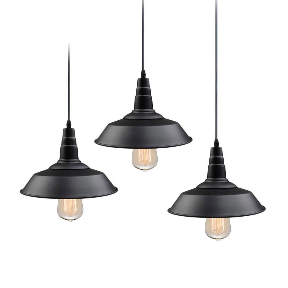 1-Light Farmhouse Lighting Black Barn Pendant (3-Pack)