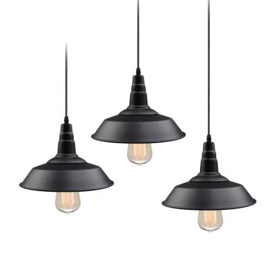 Barnyard II 1-Light Farmhouse Lighting Black Barn Pendant (3-Pack)