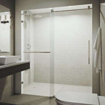 Ferrara 60 in. x 74 in. Frameless Sliding Shower Door in Stainless Steel with Tower Bar
