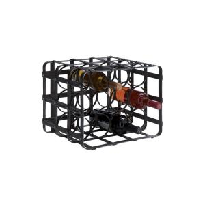 12-Bottle Black Iron Cage Wine Rack by