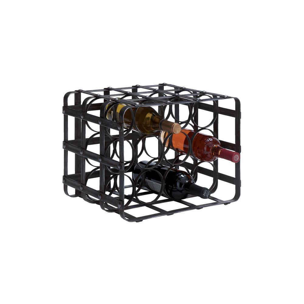 12-Bottle Black Iron Cage Wine Rack