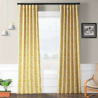 Semi-Opaque Abstract Misted Yellow Blackout Curtain - 50 in. W x 108 in. L (Panel)