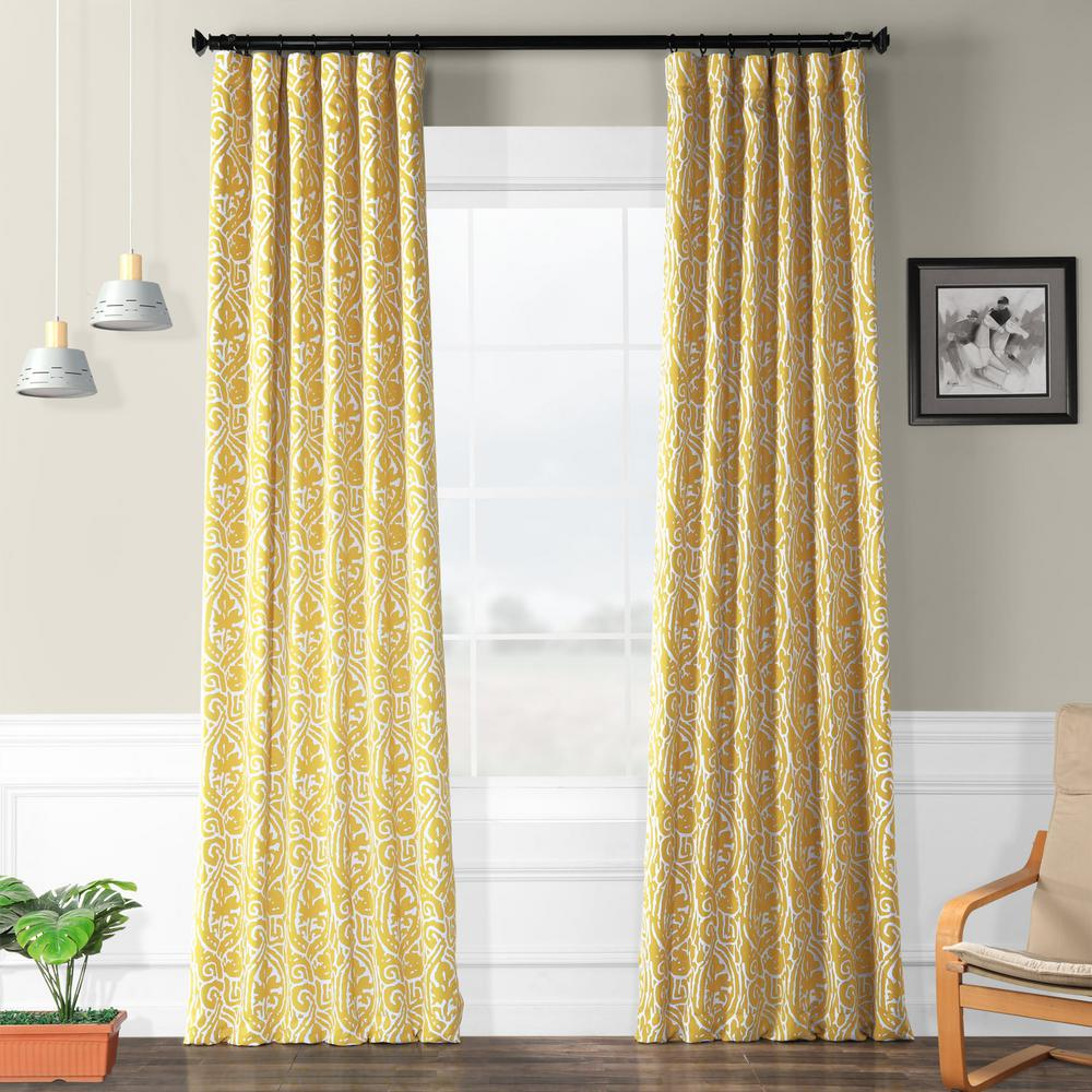 Exclusive Fabrics & Furnishings Semi-Opaque Abstract Misted Yellow Blackout Curtain - 50 in. W x 96 in. L (Panel)