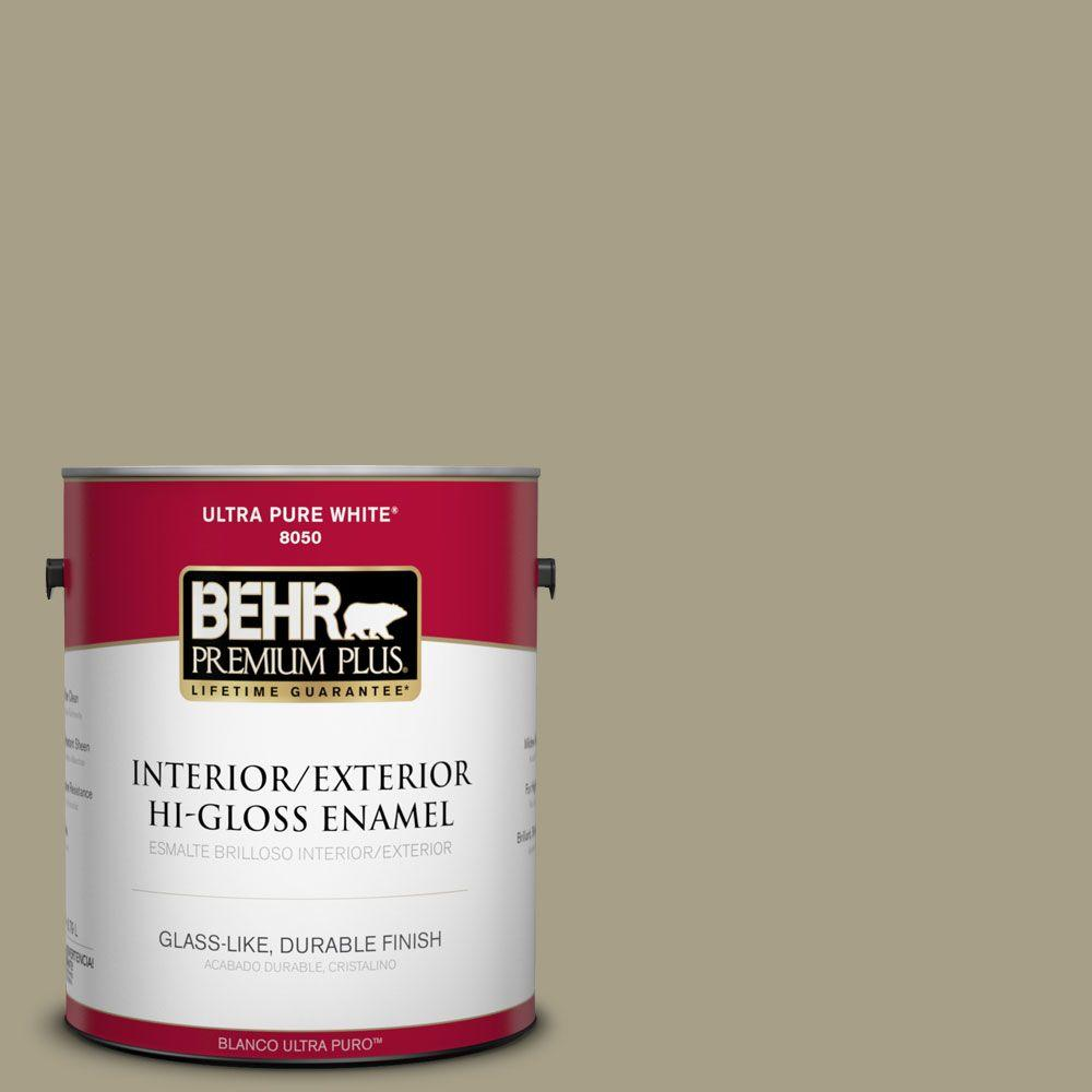 BEHR Premium Plus 1-gal. #N340-4 Tent Green Hi-Gloss Enamel Interior/Exterior Paint