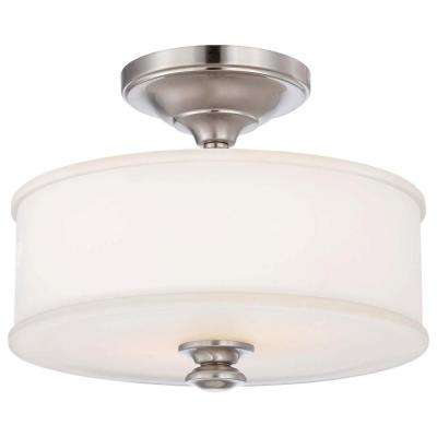 Harbour Point 2-Light Brushed Nickel Semi-Flush Mount Light