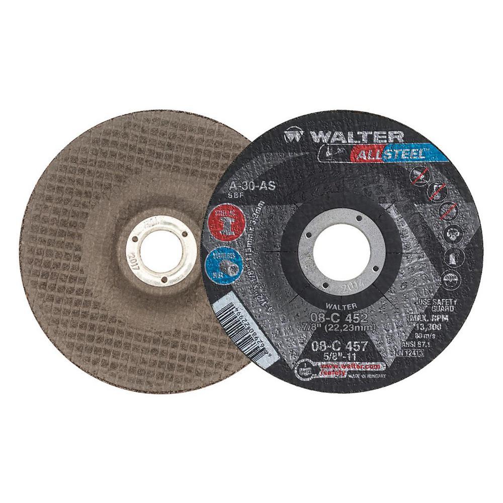 ALLSTEEL 4.5 in. x 7/8 in. Arbor x 1/8 in. T27 GR A-30-AS Grinding Wheel (25-Pack)