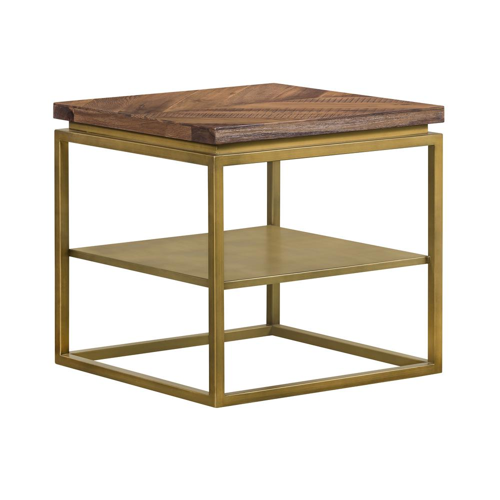 Faye Rustic Brown Wood 19 in. H Side table with Shelf and Antique Brass Base