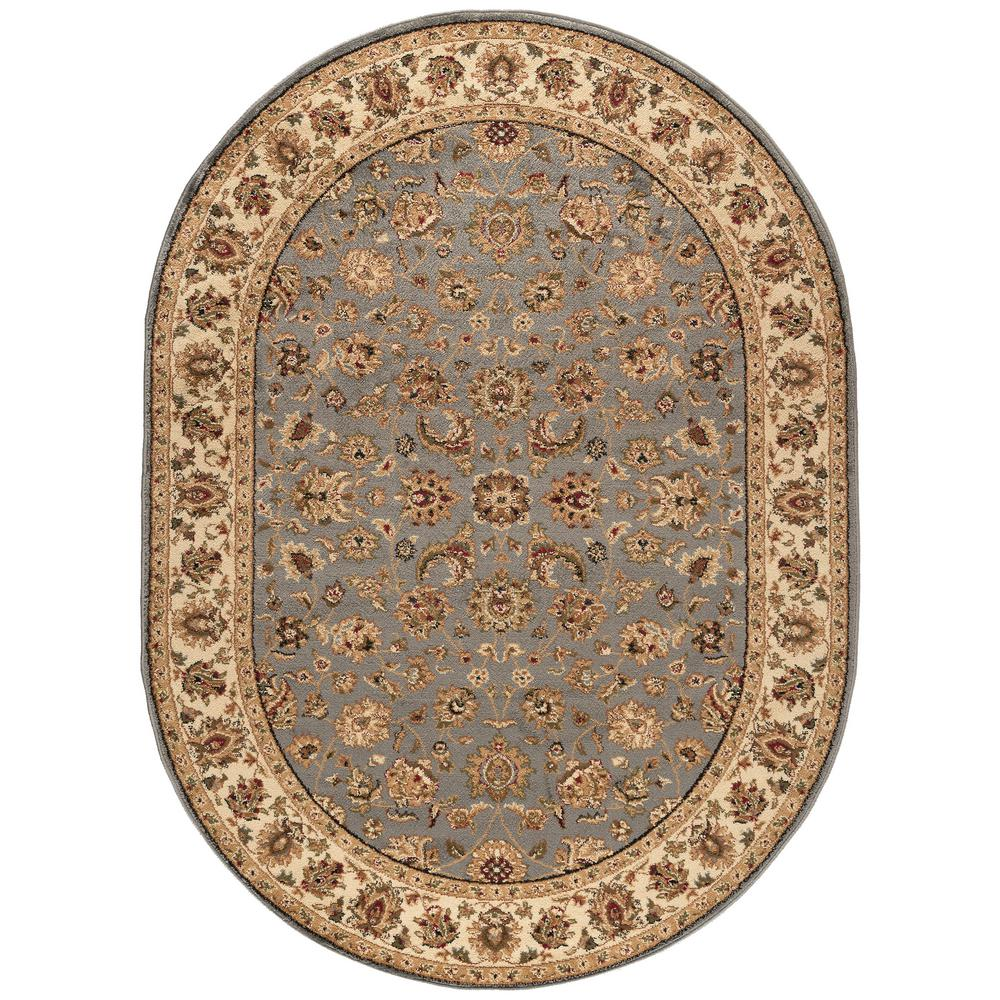 Tayse Rugs Elegance Blue 5 Ft. X 7 Ft. Oval Indoor Area