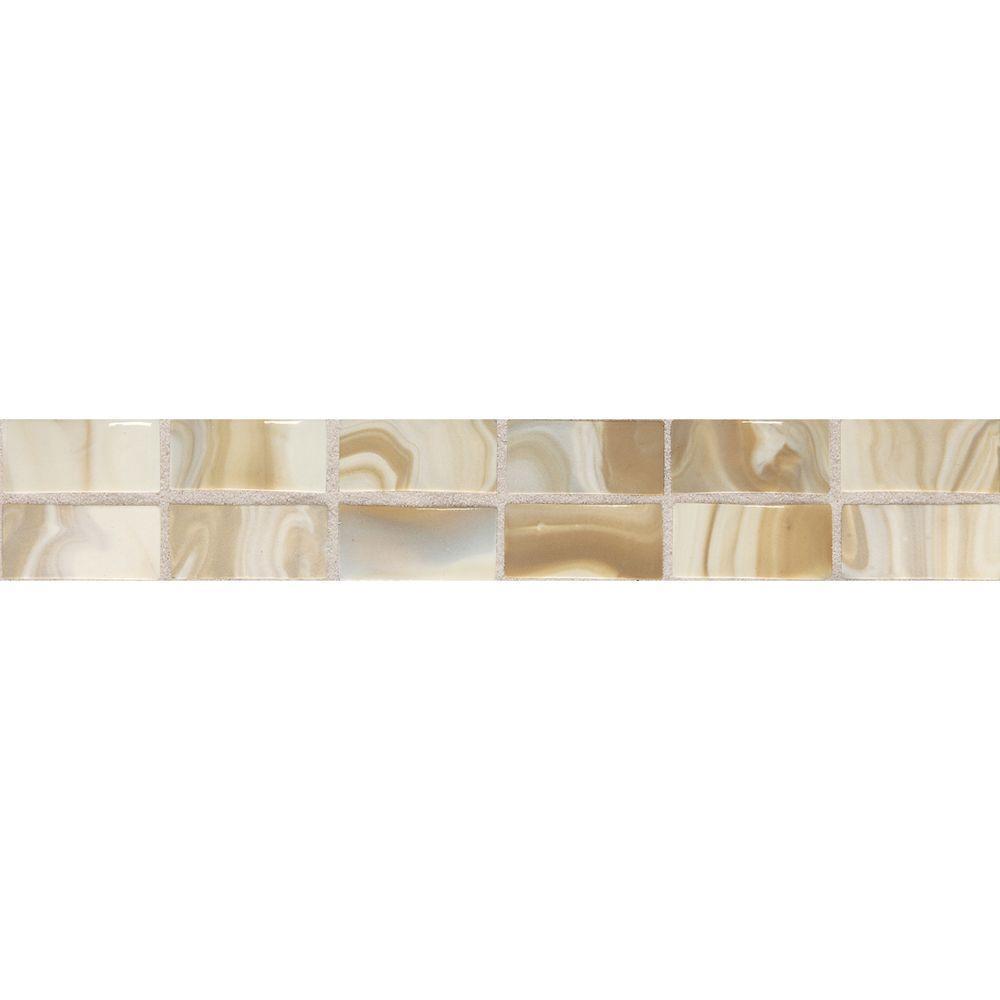 Daltile Fashion Accents Gold Swirl 2 in. x 12 in. Ceramic Decorative Accent Wall Tile