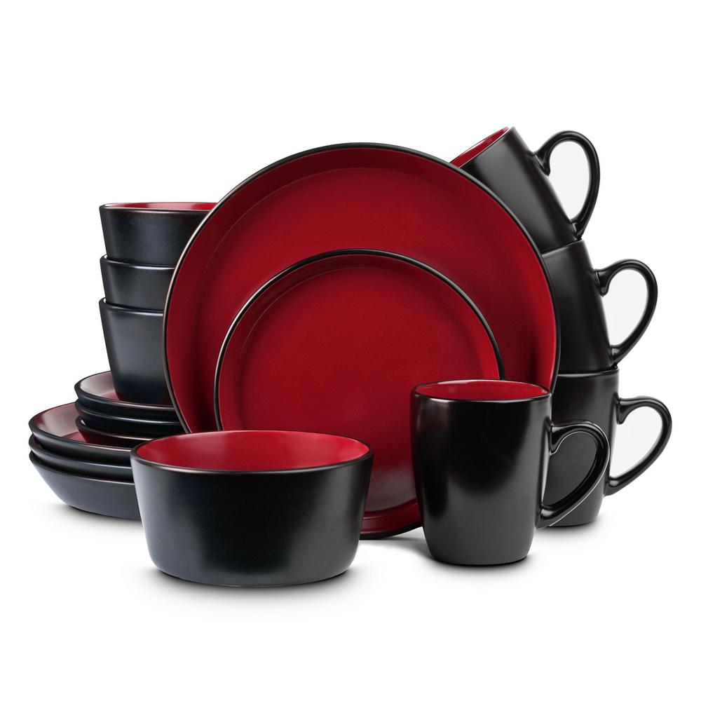 32-Piece Casual Red and Black Stoneware Dinnerware Set (Set for 8)