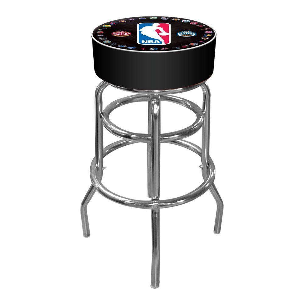 NBA Logo with All Teams 31 in. Chrome Padded Swivel Bar Stool