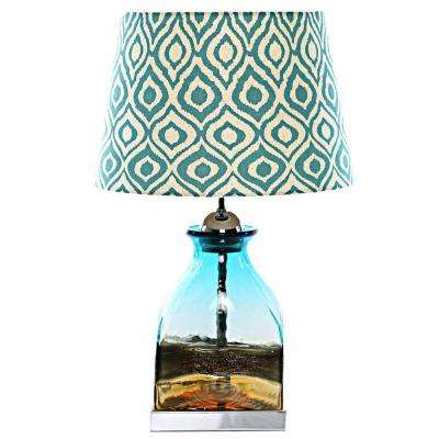 20 in. Multi-Colored Indoor Table Lamp Poetic Wanderlust by Tracy Porter with Willow Ikat Linen Shade