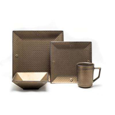 16 Piece Rubbed Gold Independence Dinnerware Set