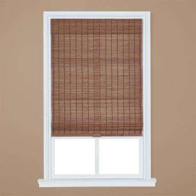 Pecan Cordless Light Filtering Bamboo Roman Shade 34 In W X 64 L