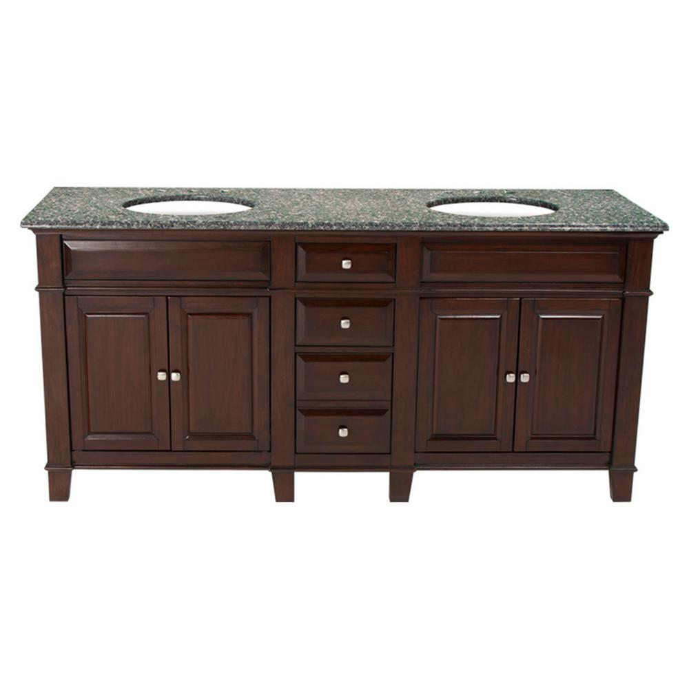 Hardwood Double Vanity Espresso Granite Top Leopard
