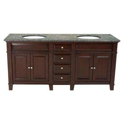 72 in. W x 23 in. D Solid Hardwood Double Vanity in Espresso with Solid Granite Top in Leopard