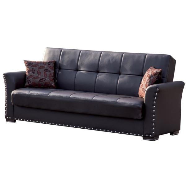 Ottomanson Diva Brown Leatherette Upholstery Covertible