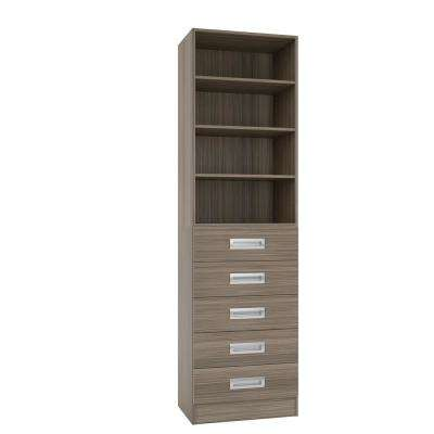 15 in. D x 24 in. W x 84 in. H Firenze Platinum Melamine with 4-Shelves and 5-Drawers Closet System Kit