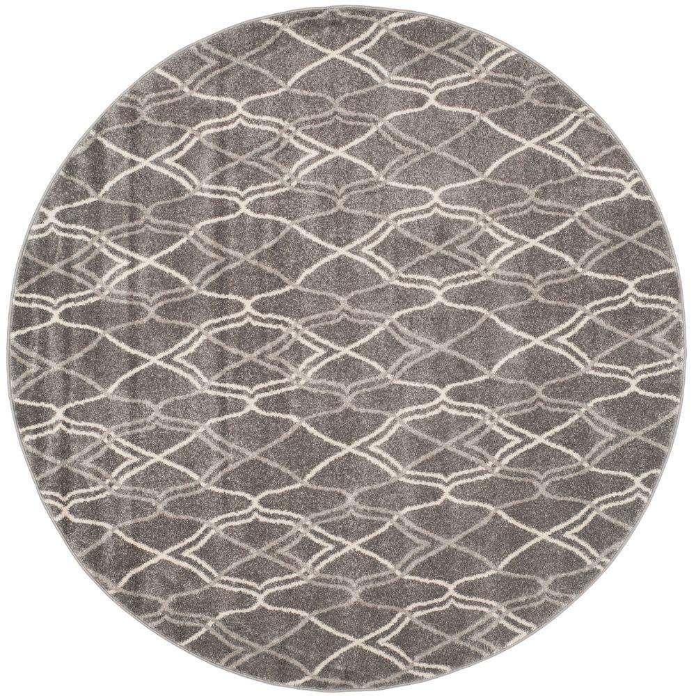 Amherst Gray/Light Gray 7 ft. x 7 ft. Indoor/Outdoor Round Area Rug