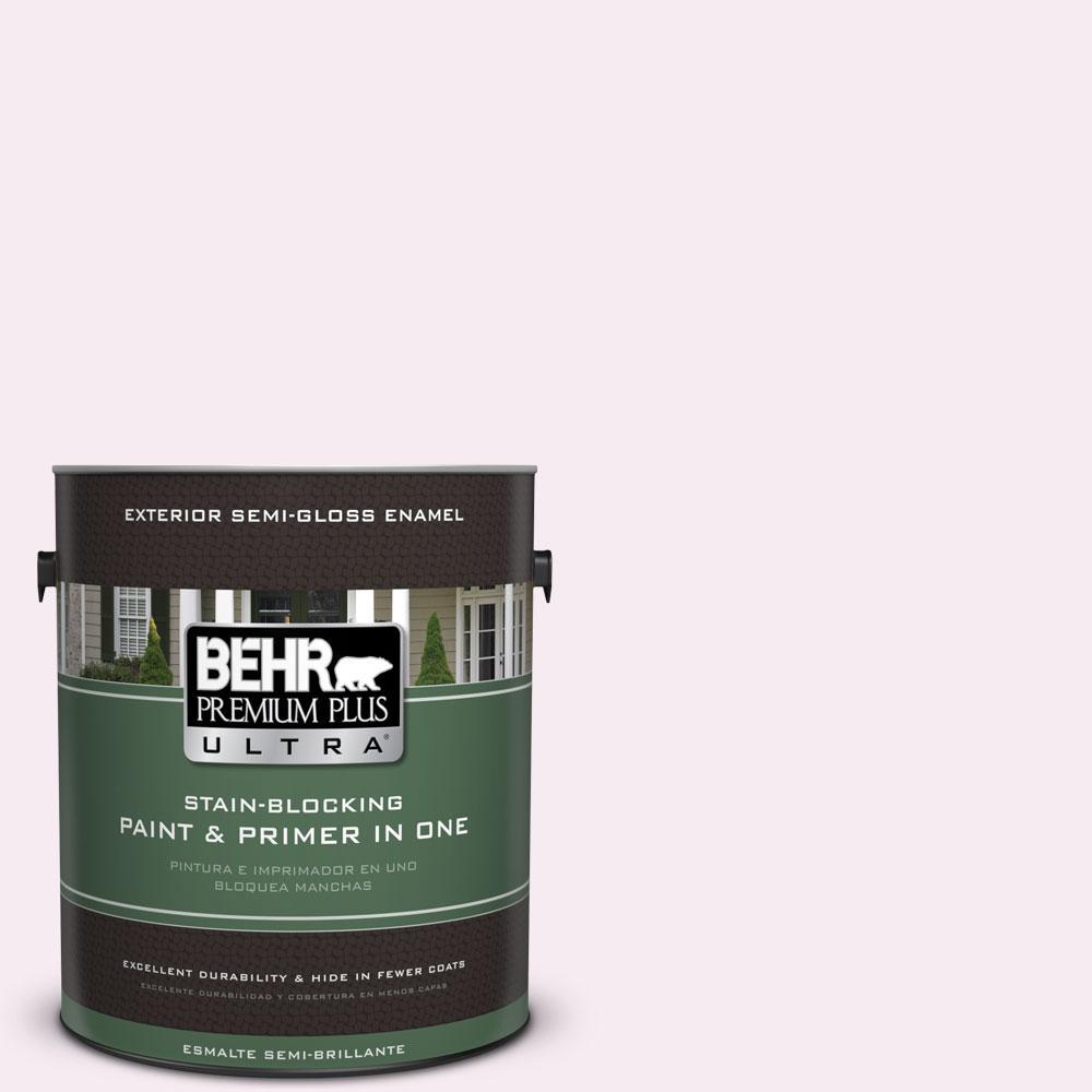 BEHR Premium Plus Ultra 1-gal. #100A-1 Barely Pink Semi-Gloss Enamel Exterior Paint