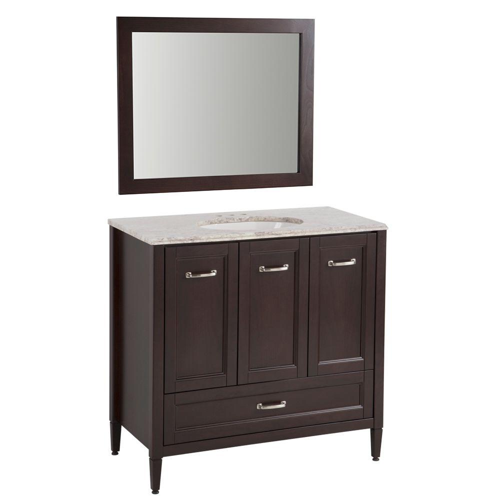 Home Decorators Collection Claxby 36 In. Vanity In Chocolate With Stone  Effects Vanity Top In