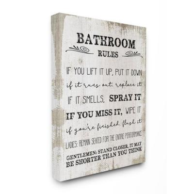 "16 in. x 20 in. ""Bathroom Rules Wood"" by Daphne Polselli Canvas Wall Art"