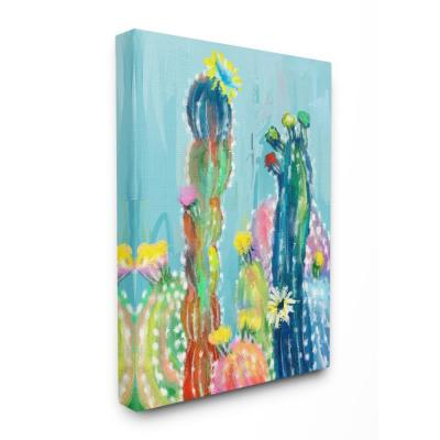 "30 in. x 40 in.""Bold Bright Blue Abstract Cacti Painting"" by Artist Main Line Art & Design Canvas Wall Art"