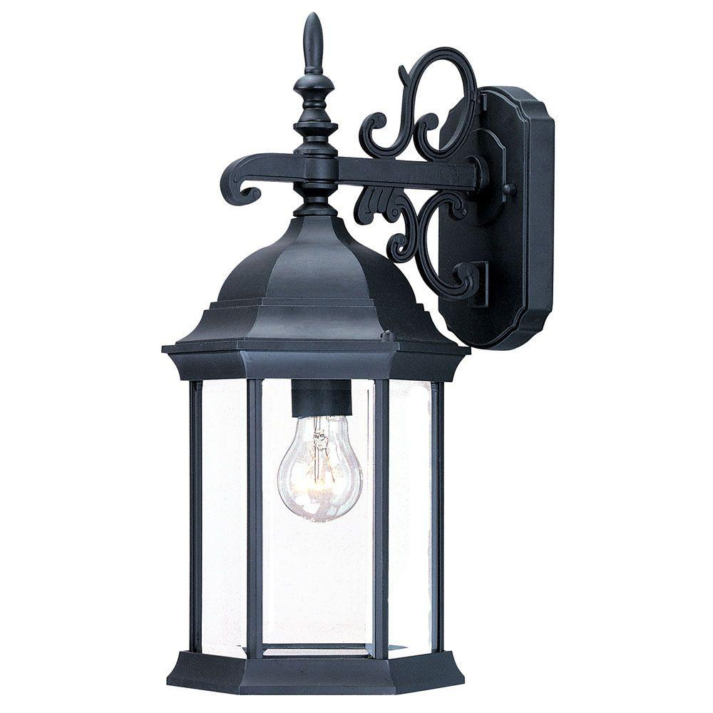 Madison Collection 1-Light Matte Black Outdoor Wall-Mount Light Fixture