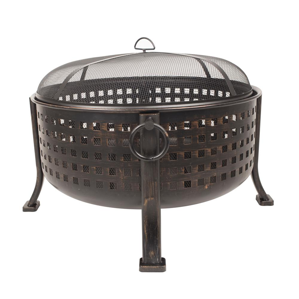 Hampton bay beckton 34 in steel deep bowl fire pit in oil for Deep pit bbq construction