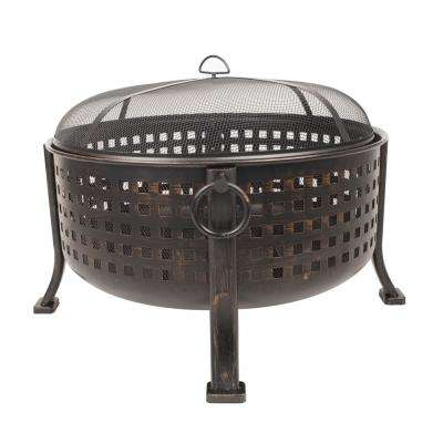 Beckton 34 in. Steel Deep Bowl Fire Pit in Oil Rubbed Bronze with Half Cooking Grid