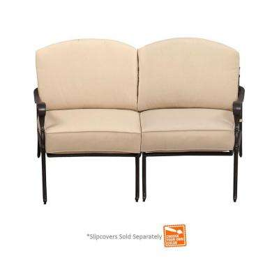 Edington All Aluminum Curved Patio Love Seat Sectional with Cushions Included, Choose Your Own Color