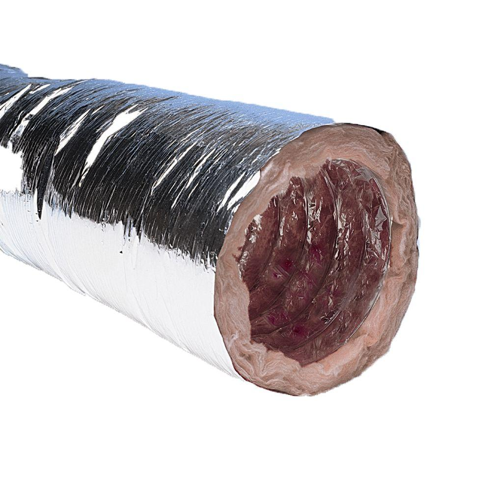 Master Flow 6 Inch X 25 Ft Insulated Flexible Duct R6 Silver Jacket Ventilation