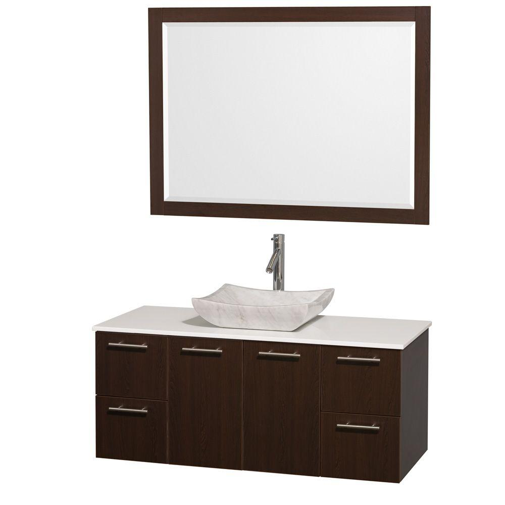 Amazing Wyndham Collection Amare 48 In Vanity In Espresso With Man Made Stone Vanity Top In White And Carrara Marble Sink Home Interior And Landscaping Pimpapssignezvosmurscom