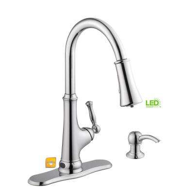 Touchless LED Single-Handle Pull-Down Sprayer Kitchen Faucet with Soap Dispenser in Chrome