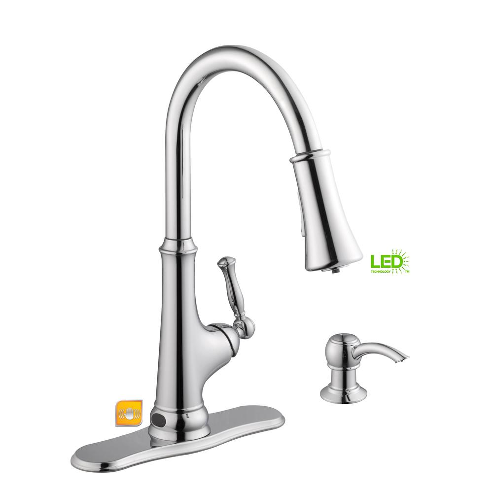 Glacier Bay Touchless Led Single Handle Pull Down Sprayer Kitchen Parts Diagram For Delta Faucet Models 978 With Soap Dispenser In Stainless Steel 67536 0508d2 The Home Depot