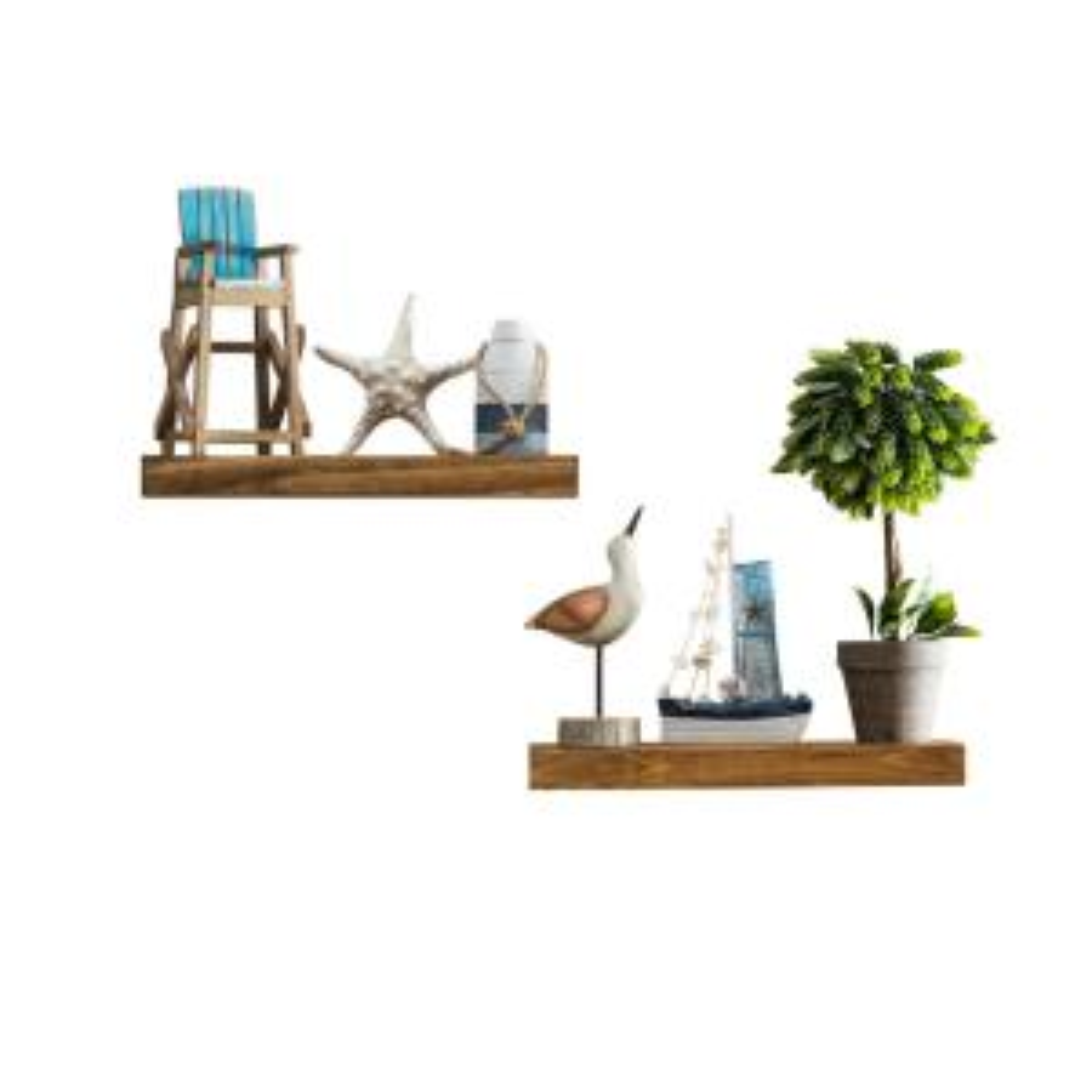 True Floating 5.5 in x 16 in x 2 in Walnut Pine Floating Decorative Wall Shelf with Brackets (Set of 2)