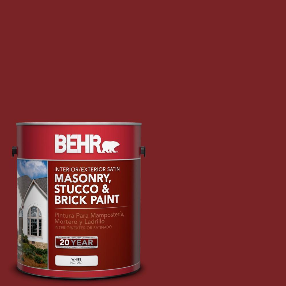 1 gal. #SC-112 Barn Red Satin Interior/Exterior Masonry, Stucco and Brick Paint