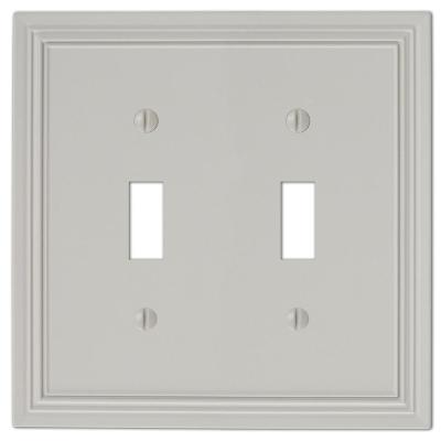 Hallcrest 2 Gang Toggle Metal Wall Plate - Gray
