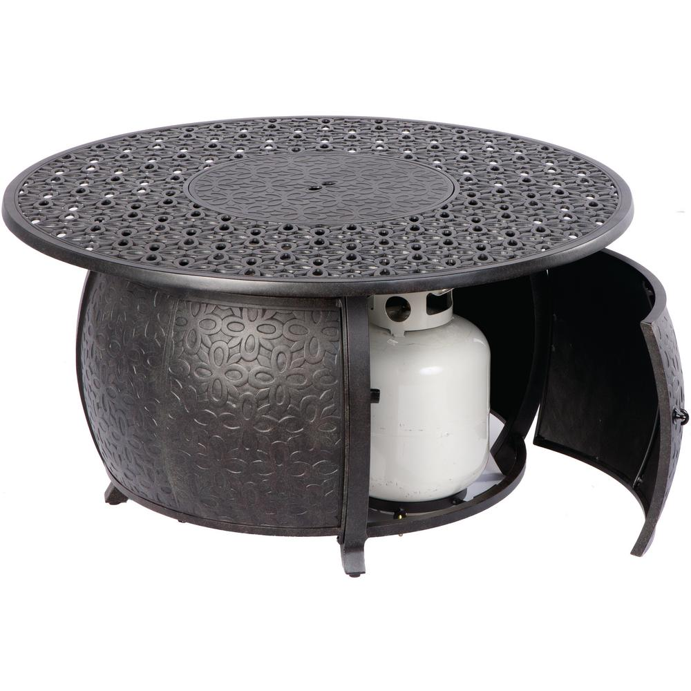 Alfresco Margherita 24 in. x 48 in. Round Cast Aluminum Propane Gas Fire Pit Table with Glacier Ice Firebeads