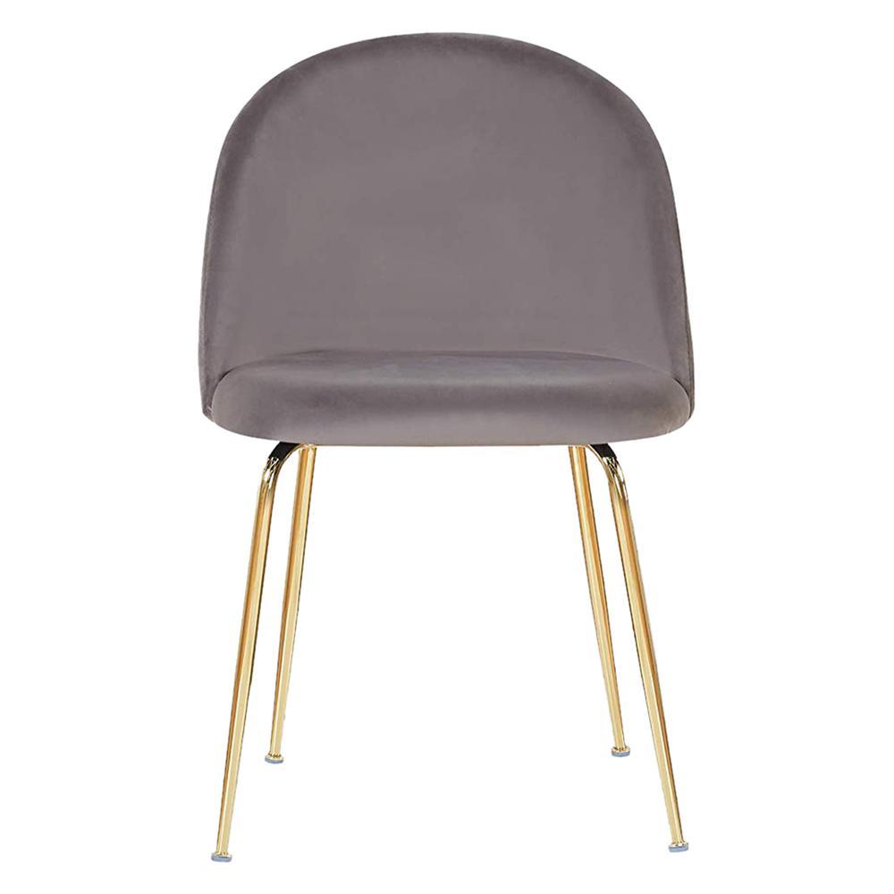 Milo Dark Gray Velvet Dining Chair with Brass Legs