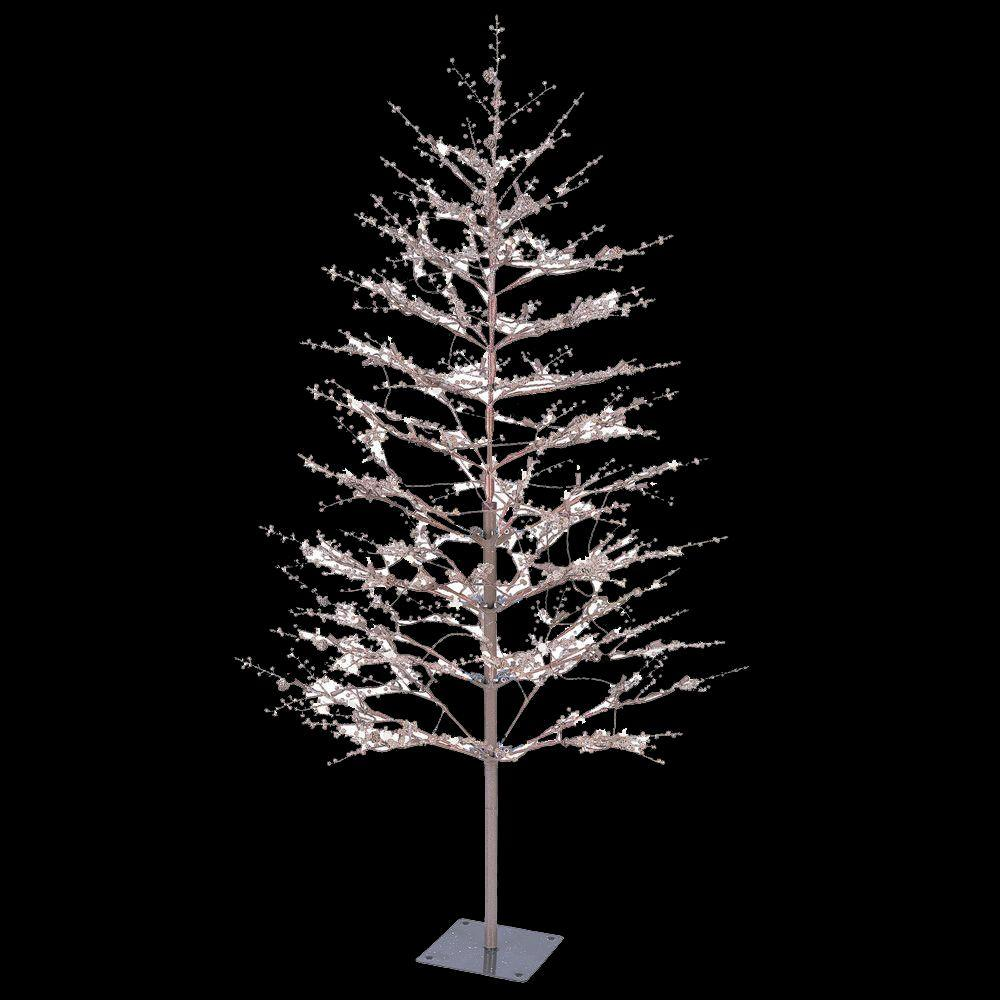 brown winter berry branch tree with c4 color choice led lights - Home Depot White Christmas Tree